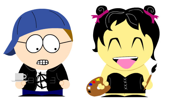 Rosey and I as South Park characters